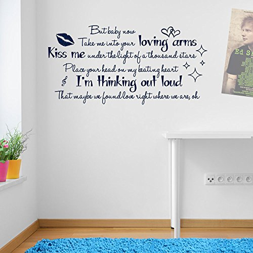 Sticker mural en vinyle avec paroles de la chanson Thinking Out Loud Ed Sheeran Thinking Out Loud