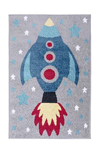 - Lord of Rugs - Tapis pour chambre d'enfant avec motif licorne, robot, fusée, superboubouclier, château de princesse, football, cœur et rayures (fusée, 80 x 120 cm)
