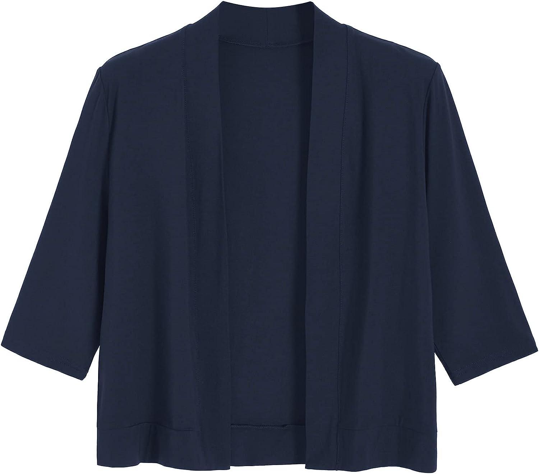Latuza Women's Bamboo Viscose Knit Open Front Cropped Cardigan