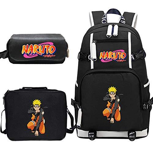 Woonn Anime Naruto Naruto Mochila Estudiante Mochila Escolar Mochila Grande Bolsa De Almuerzo Estuche para Lápices, Patrón 37