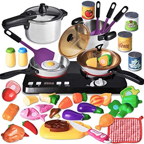 JOYIN 34 Pcs Kitchen Pretend Play Toy Cookware Set Including Stainless Steel Pots Cans Play product image