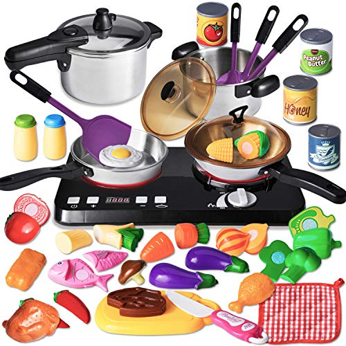JOYIN 34 Pcs Kitchen Pretend Play Toy Cookware Set Including Stainless Steel Pots, Cans, Play Food, Cooktop and Cooking Utensils Play Kitchen Accessories