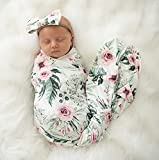 Terriboo Nerborn Receiving Blanket and Headband Set Flower Print Baby Swaddle Wrap Floral (Pink)