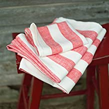 LinenMe 0155501 Set of 2 Red Hand and Guest Towels Philippe 19 x 26, Made in Europe, Bath Sheet, European Linen, Machine Washable, Super Absorbent, Standard, Off White