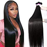 Mariska 10A Straight Human Hair Bundles Virgin Brazilian Straight Hair 3 Bundles (24 26 28in) Straight Hair Weave Bundles 100% Unprocessed Remy Peruvian Straight Human Hair Extensions