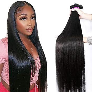 Mariska 10A Straight Human Hair Bundles Virgin Brazilian Hair 3 Bundles  26 28 30in  Straight Hair Weave Bundles 100% Unprocessed Remy Peruvian Straight Human Hair Extensions