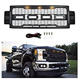 Front Grill for Ford F250/F350 2017-2019, Grille Replacement Amber LED Lights Included, Raptor Style Grill (Matte Black)