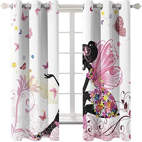 Las Cortinas Rosa Dream Girl Son Adecuadas para Dormitorios De Niños Salones De Bodas Jardines Método De Instalación De Cortinas Súper Sombreadas Perforadas 44 Piezas De Mariposa Blanca