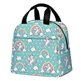 Lunch Bag for Kids, Cute Insulated Kids Lunch Box Container Reusable Cooler Lunch Tote Bag for Children Girls and Boys, School Picnic Travel Outdoors(Light Green with Unicorn)