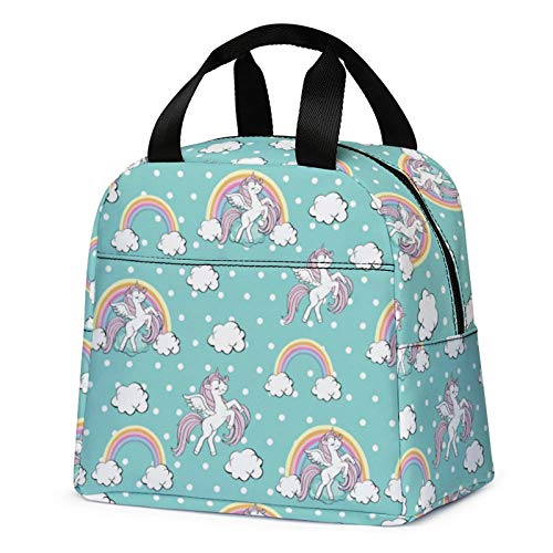 Lunch Bag for Kids Cute Insulated Kids Lunch Box Container Reusable Cooler Lunch Tote Bag for Children Girls and Boys School Picnic Travel OutdoorsLight Green with Unicorn