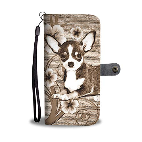 Dog Print Phone Case, Cute Chihuahua Dog Print Smartphone iPhone Wallet Case. Stunning Faux Leather Wallet Phone Cover/Stand for Samsung Galaxy, iPhone 6/7/8/X with RFID Protection