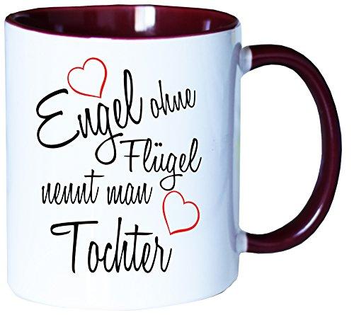 Mister Merchandise Kaffeebecher Tasse Engel ohne Flügel nennt Man Tochter Kind Geburt Schwanger Geschenk Geburtstag Wunschkind Teetasse Becher Weiß-Bordeaux