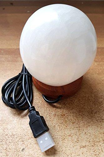 Artigianato Lámpara de Selenita USB con esfera del Himalaya multicolor