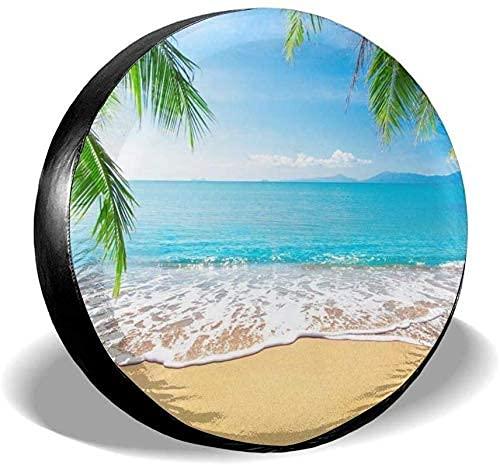 Lewiuzr Tropical Ocean Sea Palm Leaves Cubierta Impermeable de Repuesto para llanta de Repuesto para Ajuste Universal