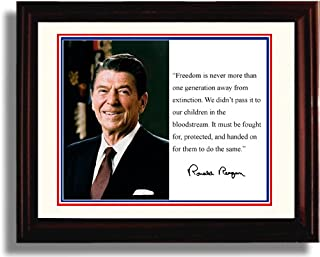Framed Ronald Reagan Autograph Replica Print - Presidential Quote