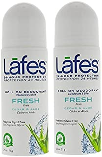Lafe's Fresh Roll On Deodorant (Pack of 2) With Cedar, Sage, and Aloe Vera, 2.5 oz Each