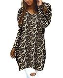 Style Dome Jerseys de Punto Mujer Largos Leopardo Cuello V Manga Larga Otoño Vestidos Sudadera Casual Tallas Grandes Suéter para Mujer Oversize Pullover D-Granate M