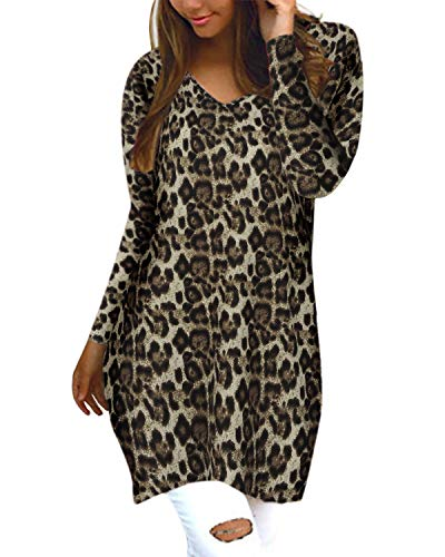 Style Dome Jerseys de Punto Mujer Largos Leopardo Cuello V Manga Larga Otoño Vestidos Sudadera Casual Tallas...