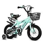 Bicicleta para niños Bicicleta para Niños con Ruedas de Entrenamiento 12 14 16 18 Bicicleta para Niños Pequeños con Barket y Botella de Agua Kickstand Niños y Niñas de 2 A 9 Años para Niños