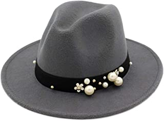 New Pearl Chapeau Femme Vintage Fashionable Black Felt Fedora Hat Men Sombrero Bowler Church Trilby Hats for Women` TuanTuan (Color : Gray, Size : 56-58)