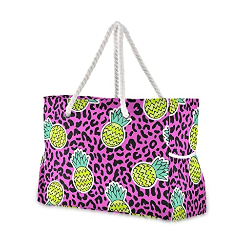 Bolsas de playa grandes de lona, bolso de hombro, elegante piña tropical con leopardo resistente al agua, bolsas para gimnasio, viajes diarios