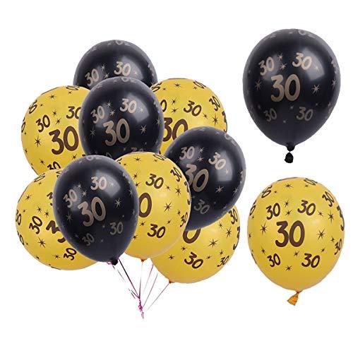 Liwein 20 Piezas Globos 30 Años,Decoracion Fiesta Cumpleaños Dorados Negro Globo de Látex para Mujer Hombre Boda Aniversario Fiesta de Cumpleaños