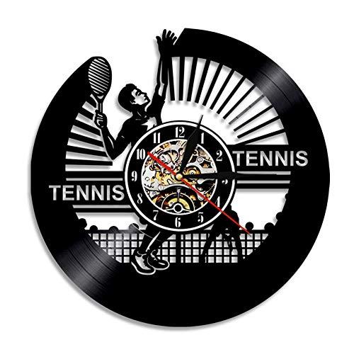 XZXMINGY Orologio in Vinile 30CM Gioca a Tennis Disco in Vinile Orologio da Parete Sport Moderno Vintage Home Decor Regalo Creativo Orologio Sportivo Atleta