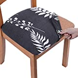 Homaxy - fundas elásticas para asiento de comedor, asiento de comedor, funda protectora de asiento de silla de comedor, extraíble y lavable, con lazos, juego de 6 unidades, hojas blancas