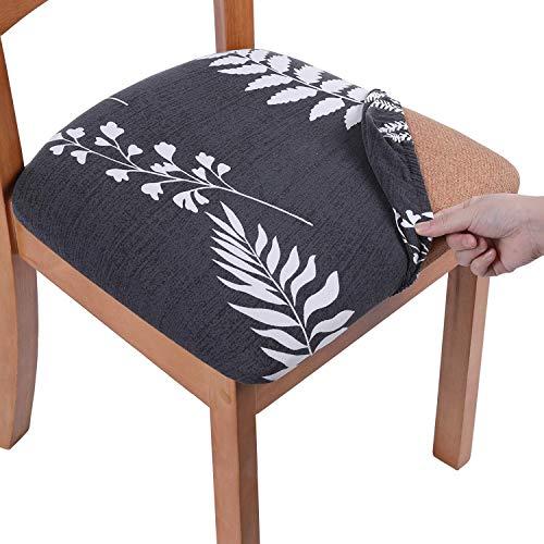 Homaxy Stretch Stuhlhussen für Esszimmer Elastischer Esszimmerstuhl Sitzschoner Bezug Abnehmbare Waschbar Stuhlhussen mit Bindebändern, 2er Set weiße Blätter