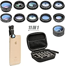 Phone Camera Lens 11 in 1 Phone Lens Kit, Fisheye Lens/Wide Angle Lens & Macro Lens/Zoom Lens+CPL/Flow/Radial/Star/Soft Filter Compatible for iPhone 12 11 Xs Pro 8 Plus iPad Samsung Most of Smartphone
