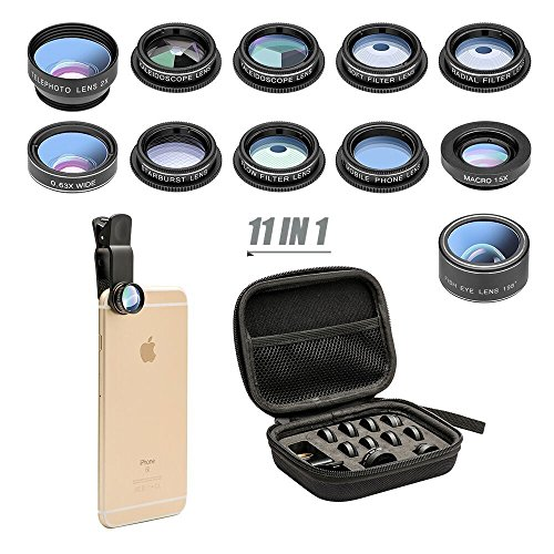 cheap 11-in-1 camera lens kit for mobile phones Wide-angle lens and macro lens + fisheye lens + telephoto lens …