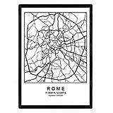 Lámina mapa de la ciudad Rome estilo nordico en blanco y negro. Poster tamaño A4 Sin marco Impreso papel 250 gr. Cuadros, láminas y posters para salon y dormitorio