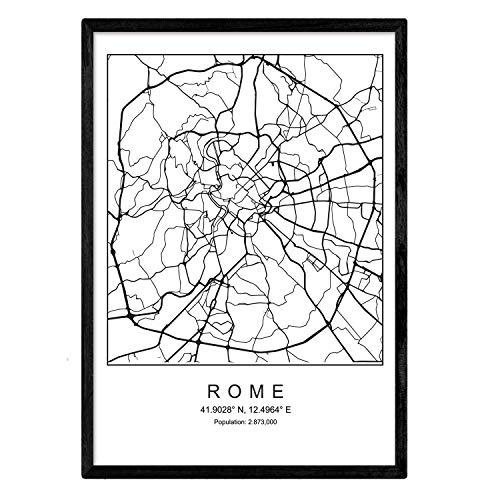 Nacnic Lámina Mapa de la Ciudad Rome Estilo nordico en Blanco y Negro. Poster tamaño A3 Sin Marco Impreso Papel 250 gr. Cuadros, láminas y Posters para Salon y Dormitorio