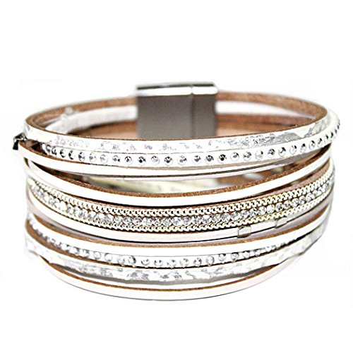 Rosemarie Collections Women's Genuine Leather Multi Strand Fashion Bracelet (Silver)