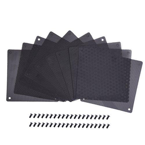 120 mm Filtres Anti-poussière PVC Filtre à Poussière Noir, Pack de 10 avec 40 Pièces de Vis
