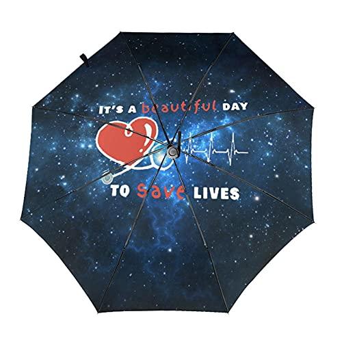 Paraguas automático de tres pliegues impresión 3d es un hermoso día para salvar vidas impermeable protección UV lluvia paraguas interior impresión para uso diario