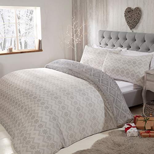 Sleepdown Fairisle - Juego de Funda de edredón Reversible con Fundas de Almohada (220 cm x 230 cm), diseño de Rayas abstractas, Color Gris y Blanco