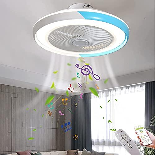VOMI Azul Ventilador de Techo con Luz Silencioso Regulable LED Música Lámpara de Techo con Ventiladores Ruido Bajo Fan Plafon Luces Altavoz Bluetooth para Dormitorio Sala Estar Oficinas Comedores 50CM