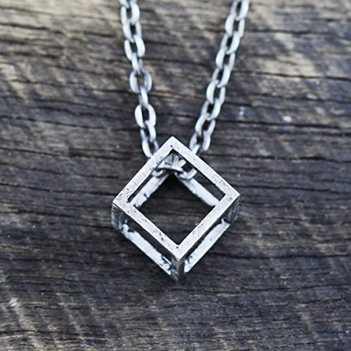 Men Brushed Silver Cube Necklace
