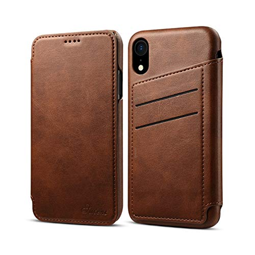 Case Cover for iPhone XR 2018 6.1 Leather,Brown 5 Card Slot (ID Card, Credit Card) Viewing Stand Full Protection Anti-Scratch Concise Flip Shell Kickstand Gift Girls Boys