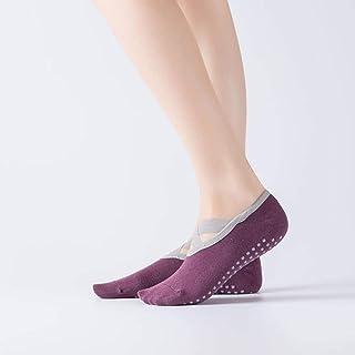 B/H, B/H Yoga Calcetines Pilates,Ejercicio físico dispensador Antideslizante Cruzado para Mujer Yoga-E_One Size,Calcetines Deportivos Antideslizantes