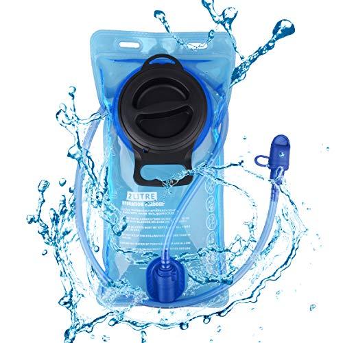 TRIWONDER Poche Hydratation 2L Réservoir d'eau Souple Sac d'eau Poche à Eau Vessie d'eau Sac d'hydratation pour Marathon Camping Randonnée Vélo Running (2L (PEVA) - Bleu)