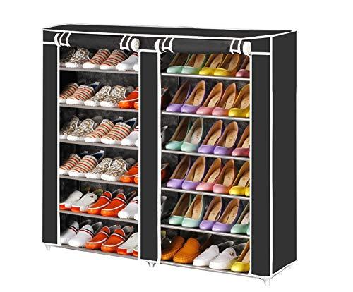 Vinsani - Estantería organizadora para zapatos, 2 unidades, 6 niveles, de lona, 36 pares, color negro