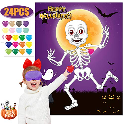 Funnlot Halloween Party Games for Kids Halloween Kids Games Pin The Heart on The Mr.bones Game Halloween Party Favors  Halloween Party Games Activities Halloween Pin The Tail Game