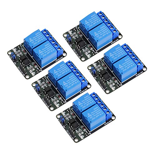 Wishiot 2-Kanal-Relais-Modul mit Optokoppler-Isolation, DC 5 V, 10 A, für Arduino R3 Mega 2560 1280 DSP ARM PIC AVR STM32 Raspberry Pi (5 Stück)