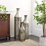 Deco 79 Benzara 20269 The Cool Metal Vase, Set of 3, 43 by 33 by 25-Inch, Grey