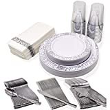 HomyBasic 190 Pcs Silver Disposable Plastic Plates & Silverware Set for 25 - Fancy Dinnerware Sets, Cups & Paper Napkins. 30 Pcs for Forks, Spoons, Knives  Perfect for Wedding, Birthday, Dinner Party
