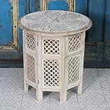 Orientalischer Beistelltisch Haytam Weiss Ø 52 cm x H 54 cm groß rund aus massivholz Mango | Kunsthandwerk aus Marrakesch | NH-5326-B