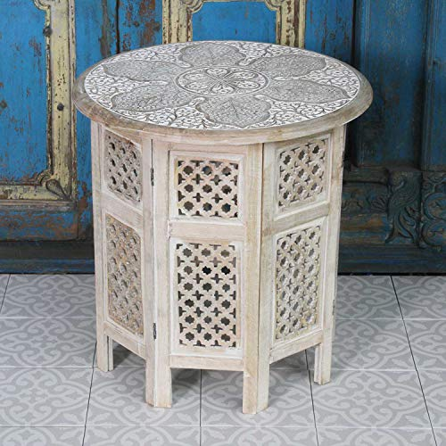 Casa Moro Orientalischer Beistelltisch Haytam 52x52x54 cm (B/T/H) rund in Shabby Chic weiß aus Massivholz Mango handgeschnitzt | Kunsthandwerk aus Marrakesch | Vintage Sofatisch Couchtisch | NH-5326-B