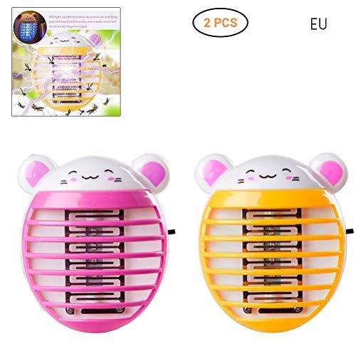 Hihey Vliegenkiller 2 stuks beer elektrische muggen LED stopcontacten vliegenkuip insectenval Killers nachtlampen